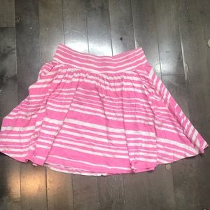 Pink and white striped H&M flare skirt